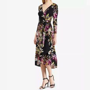 American Living floral v-neck midi wrap dress